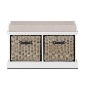 Tetbury White Bench with 2 Brown Faux Rattan Baskets and Cream Cushion