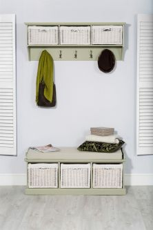 Tetbury Large Coat Rack and Bench set - Sage Green