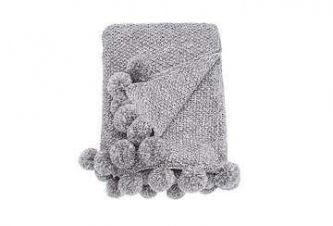 Cosy Knit Pom Pom Throw Grey (130x170)