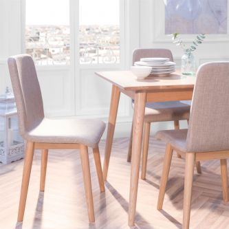 Edvard Olsen Dining Chair (Brown Fabric) - Golden Oak