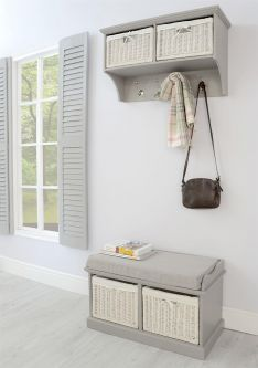 Tetbury Hallway Coat Rack and 2 Basket Bench Set - Dove Grey