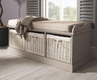 Tetbury Truffle Storage Bench with 3 White Baskets