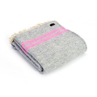 Fishbone Two Stripe Throw 150x183 - Grey/Pink