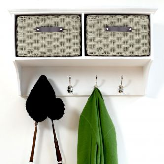 Tetbury White Coat Rack with 2 Grey Faux Rattan Baskets