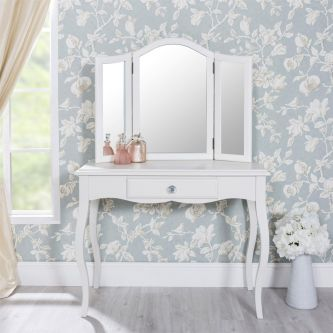 Romance Antique White Dressing Table with Crystal Handles