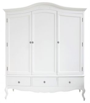 Juliette White French Triple Wardrobe with crystal handles