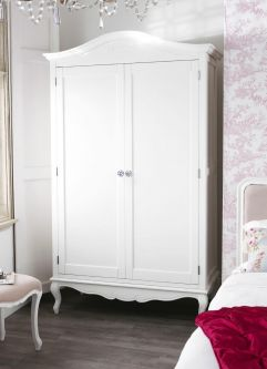 Juliette French White Double Wardrobe with Crystal Handles