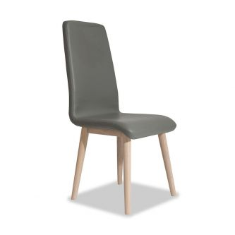 Edvard Olsen Highback Chair (Grey Faux Leather) - Light Oak