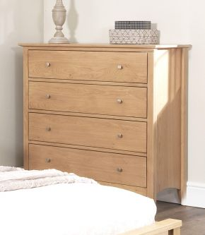 Edward Hopper Oak Chest of 4 Drawers with Chrome Handles