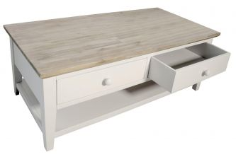 Florence Coffee Table with 2 Drawers and Shelf - White