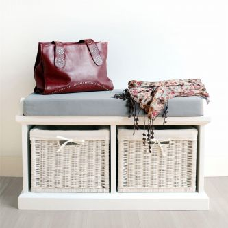 Tetbury White Storage Bench with 2 baskets and Grey Cushion