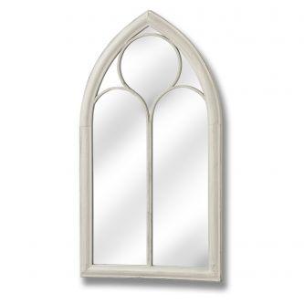 Antique white gothic iron window wall mirror
