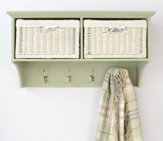 Tetbury Sage Green Coat Rack with 2 White Wicker Baskets