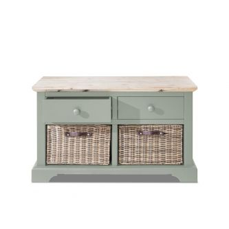 Florence Storage Bench with 2 Drawers and Baskets - Sage Green