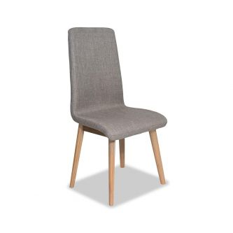 Edvard Olsen Highback Chair (Taupe Fabric) - Golden Oak