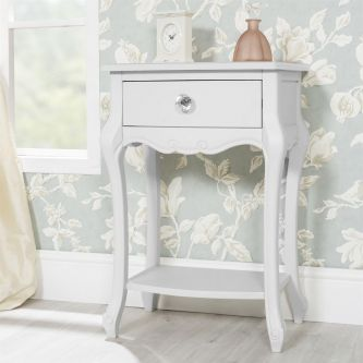 Juliette White Bedside Table with 1 Drawer and Crystal Handle
