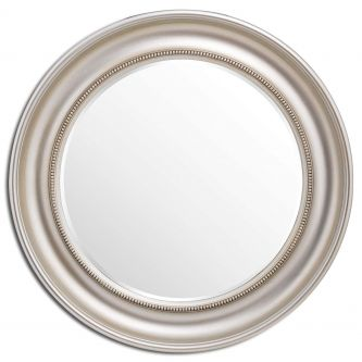Detailed Circular Champagne Wall Mirror (90cm)