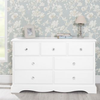 Romance True White Large Chest of Drawers with Crystal Handles