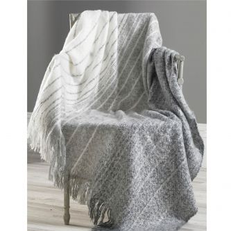 Ombre stripe faux mohair throw