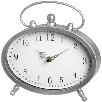 Silver Oval Mantle Clock with Handle
