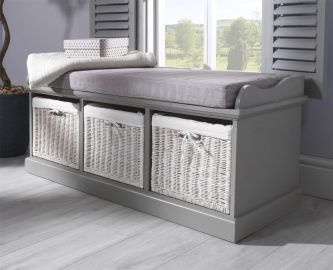 Tetbury Grey Storage Bench with 3 White Baskets