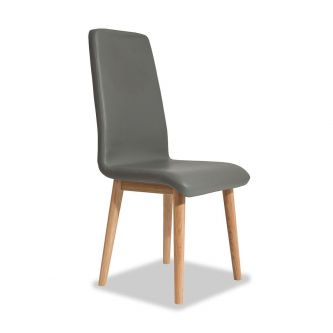 Edvard Olsen Highback Chair (Grey Faux Leather) - Golden Oak