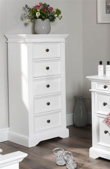 Gainsborough Tallboy, 5 Drawer Chest- White