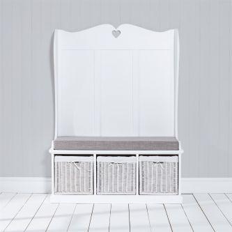 Tetbury Monks Bench with 3 White Storage Baskets & Grey Cushion