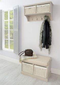 Tetbury Hallway Coat Rack and 2 Basket Bench Set-  Truffle