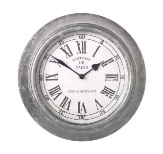 Bistrot De Paris Clock with Galvanised Metal Surround