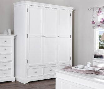 Gainsborough White Triple Wardrobe with 3 Drawers and Crystal Handles