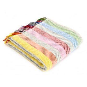 Rainbow Stripe Wool Throw 70x183 GREY