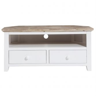 Florence Corner TV Unit with 2 Drawers, TV Stand - White