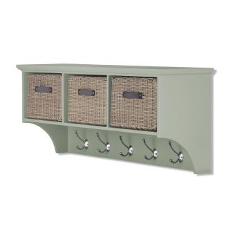 Tetbury Sage Green Hanging Shelf with 3 Brown Faux Rattan Baskets