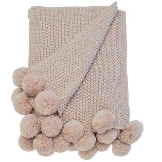 Cosy Knit Pom Pom Throw Blush (130x170)