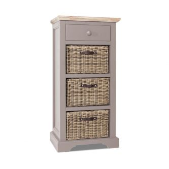 Florence Tallboy with Drawer and 3 Storage Baskets - Truffle