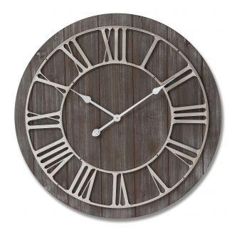 Dark Wooden Clock with Contrasting Nickel Detail