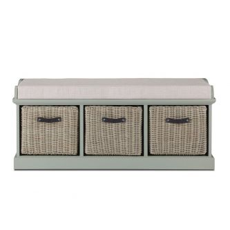 Tetbury Sage Green Bench with 3 Brown Faux Rattan Baskets and Cream Cushion