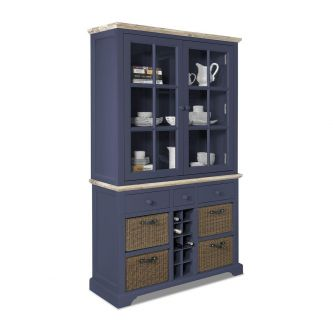 Florence Display Cabinet with Wine Rack-Navy Blue