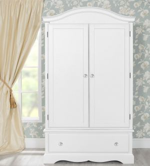Romance True White Double Wardrobe with Deep Drawer with Crystal Handles