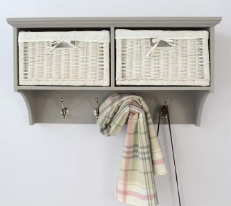 Tetbury Dove Grey Coat Rack with 2 White Wicker Baskets