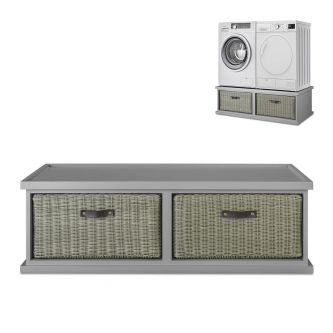 Tetbury Double Laundry Pedestal, Washing Machine and Dryer - Dove Grey