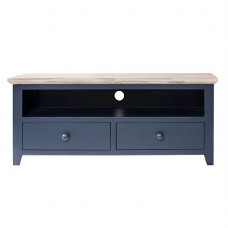 Florence TV Unit with Shelf and 2 Drawers, TV Stand - Navy Blue