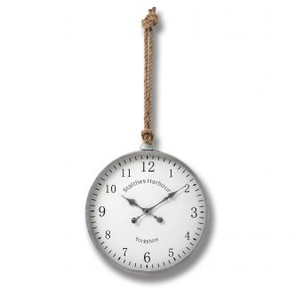 Silver Wall Clock with Knotted Rope Hanger