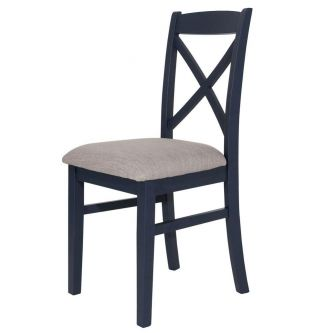 Florence Cross Back Upholstered Chair - Navy Blue