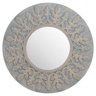Grey Painted Fleur De Lis Round hand Carved Mirror (90cm)