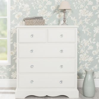 Romance Antique White 2 over 3 Chest of Drawers with Crystal Handles