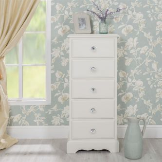 Romance Antique White 5 Drawer Tallboy with Crystal Handles