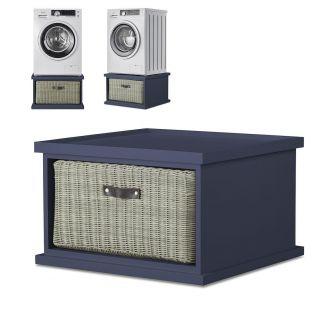 Tetbury Washing Machine Stand with Storage, Navy Blue Laundry Pedestal