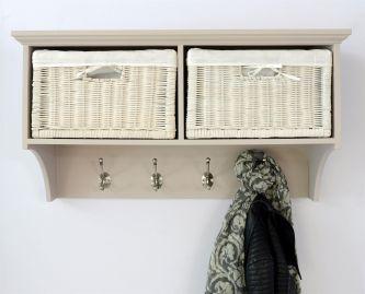 Tetbury Coat Rack with 2 White Wicker Baskets  - Truffle